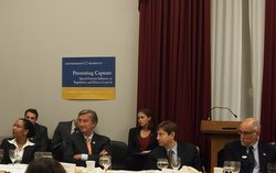 Christopher Schroeder (right) at a 2011 roundtable discussion on Preventing Capture.