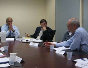 Arthur Segel, David Moss, and Michael Sandel at an Institutions of Democracy meeting.