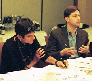Congresswoman Rosa DeLauro and Tobin Project founder David Moss at a Tobin Project meeting in 2007.