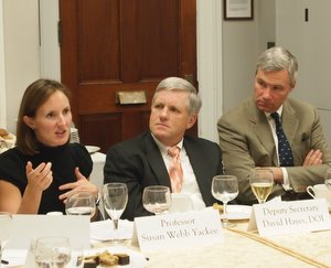 Susan Webb Yackee, Deputy Secretary David Hayes, and Senator Sheldon Whitehouse at a roundtable discussion on Preventing Capture.